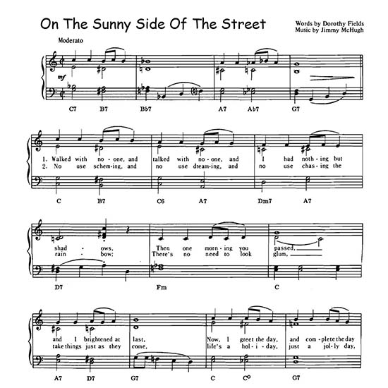 On The Sunny Side Of The Street, demo page