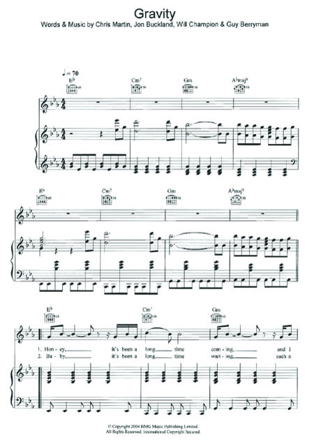 Coldplay Gravity FREE SHEET MUSIC