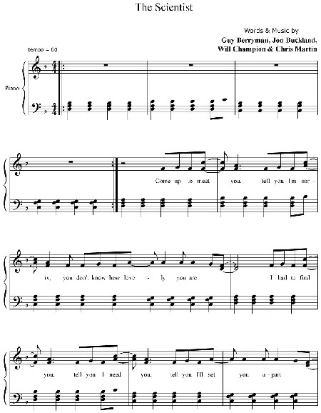 FREE PRINTABLE PIANO SHEET MUSIC FIX YOU COLDPLAY - Wroc?awski ...