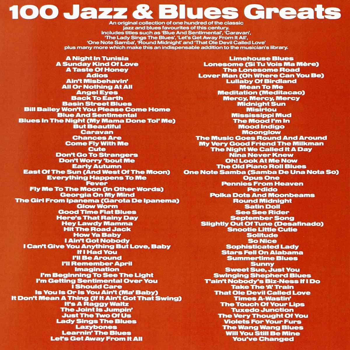 «100 Jazz And Blues Greats» Songbook song list